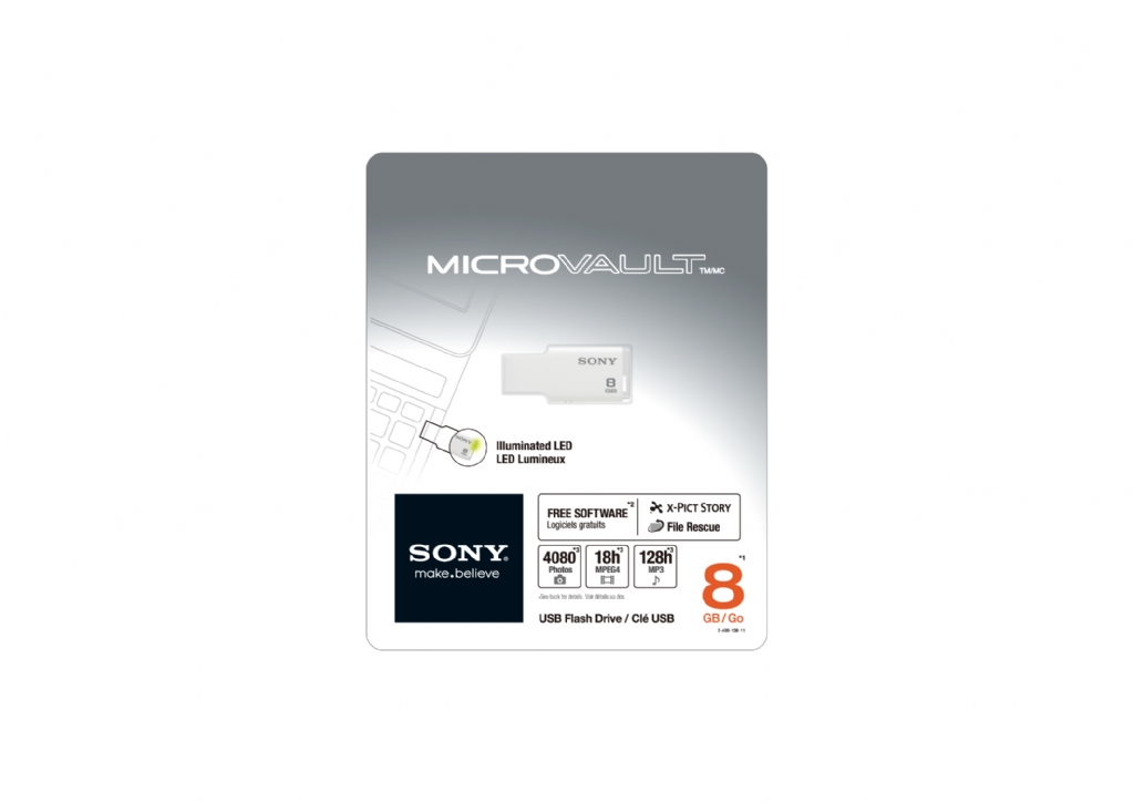 Sony Micro Vault Style USM8GM 8 GB USB 2.0 Flash Drive - White