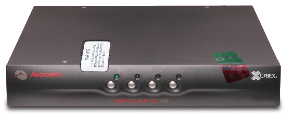 Avocent 1 x 4 SwitchView SC140 KVM Switch PS/2/USB/VGA Intrusion Detection with UK Power Supply