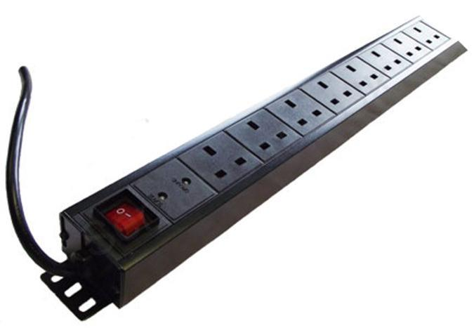 Dynamode 1U 8 Way Vertical 13A Switched 19 inch Power Distribution Unit with Surge Protection (Rack Mountable)